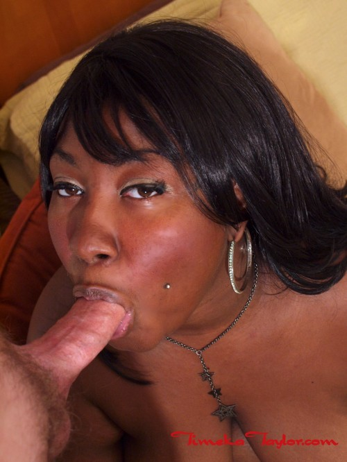 Timeka Taylor, the ebony babe, deep throats white cock.