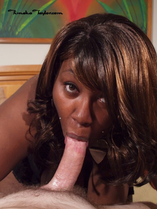 Timeka lip locks white cock for some hot deep throat action.
