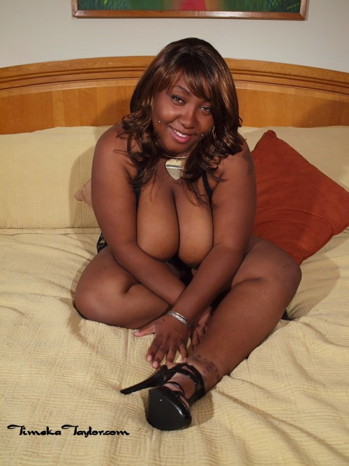High heeled, big tit, ebony coed, Timeka Taylor.