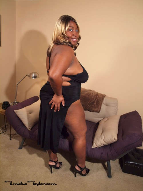 High heeled ebony BBW, Timeka Taylor, shows off her big black booty.